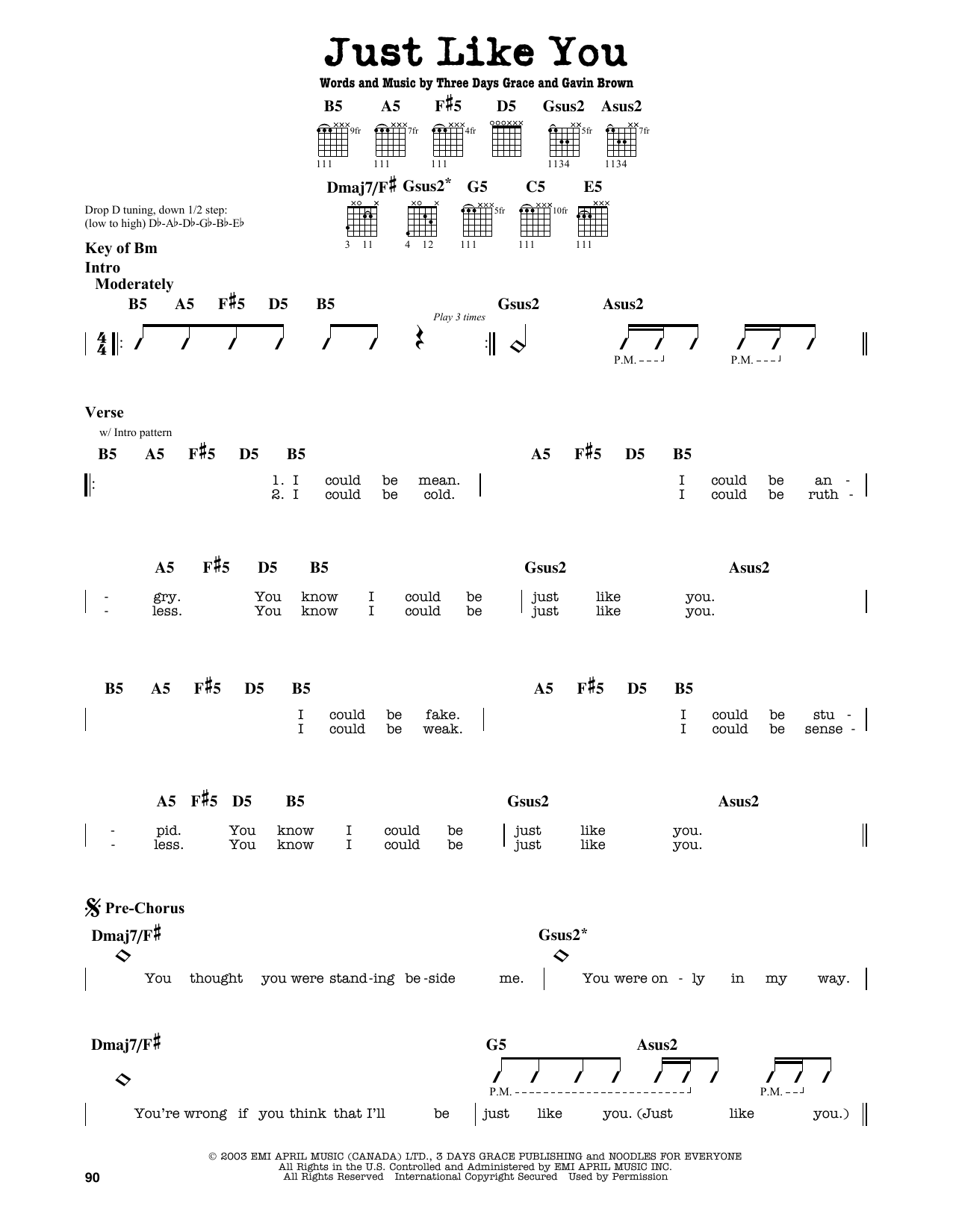 Partition autre Just Like You de Three Days Grace - Tablature Guitare Lead