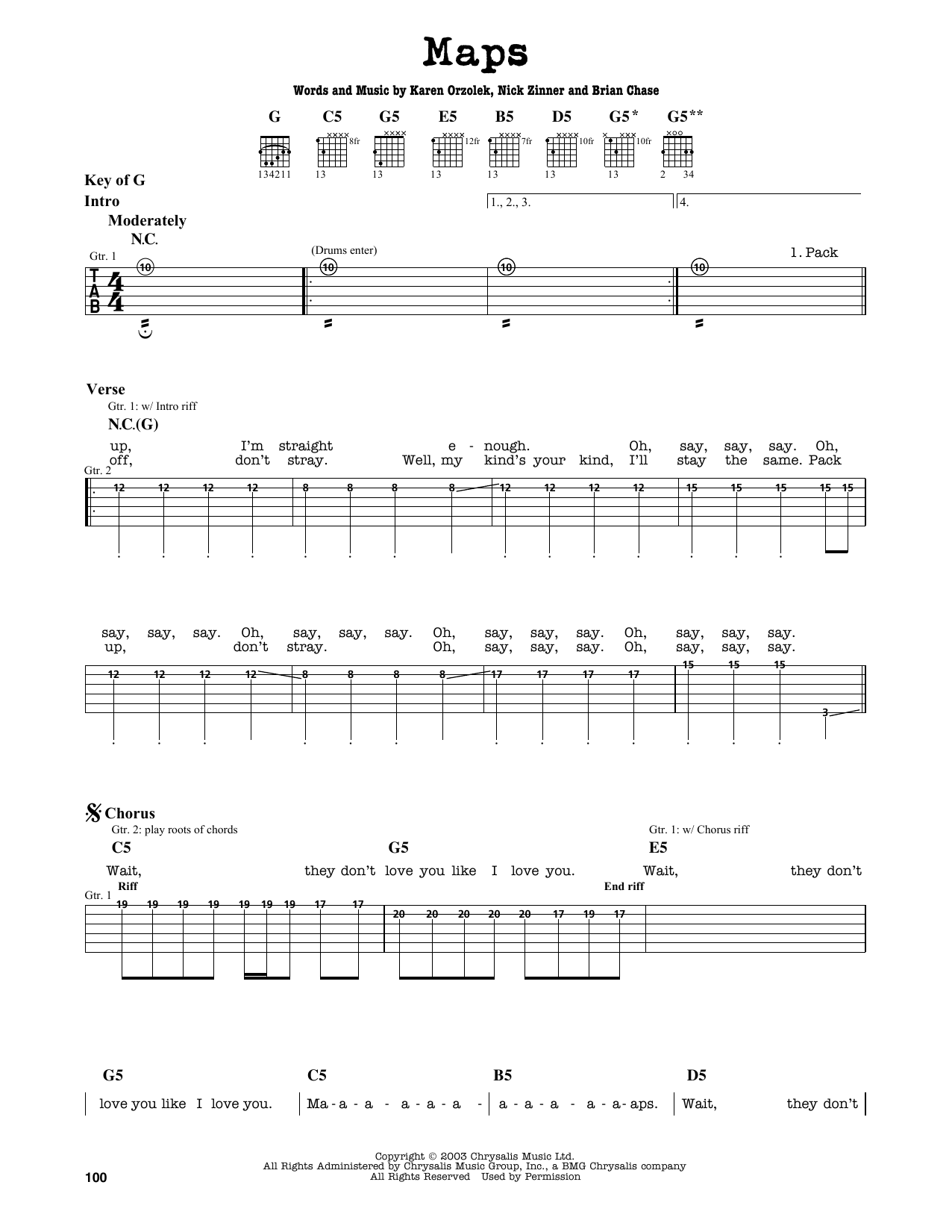 Partition autre Maps de Yeah Yeah Yeahs - Tablature Guitare Lead