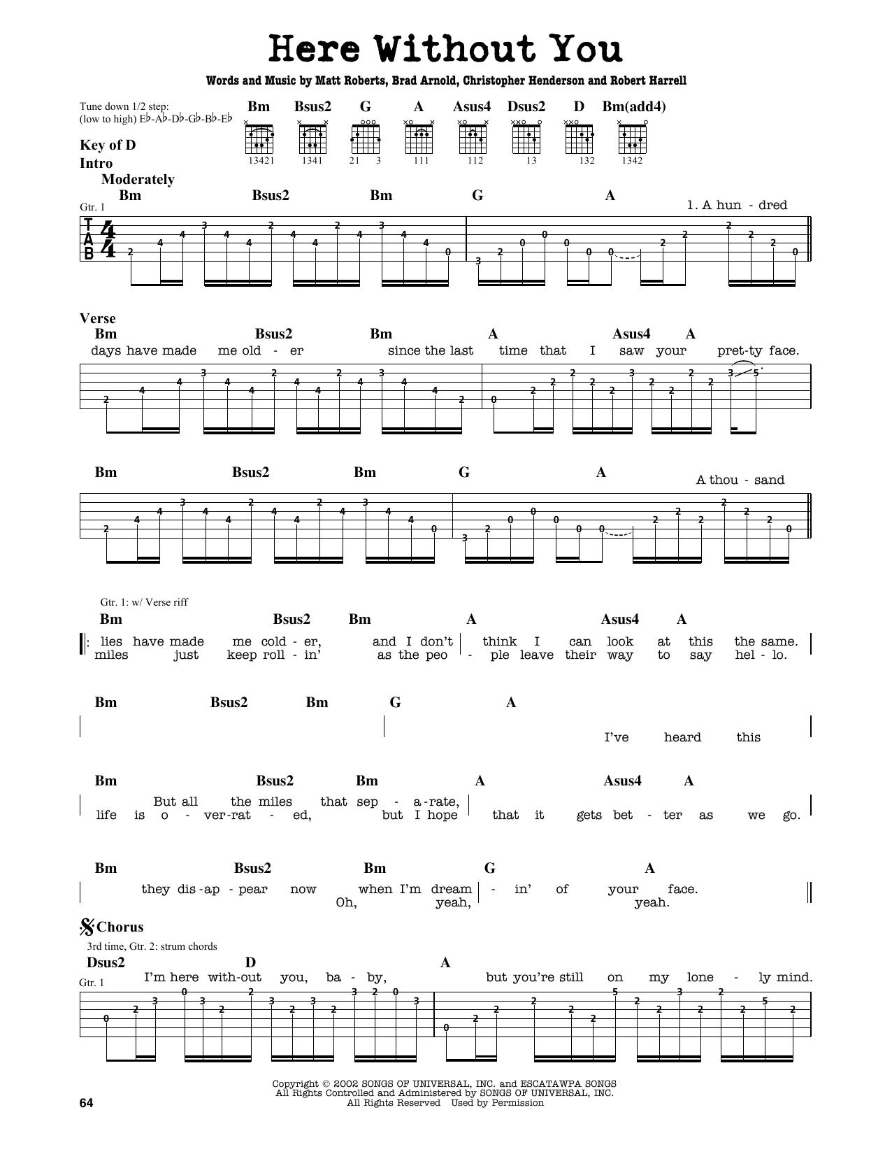 Partition autre Here Without You de 3 Doors Down - Tablature Guitare Lead