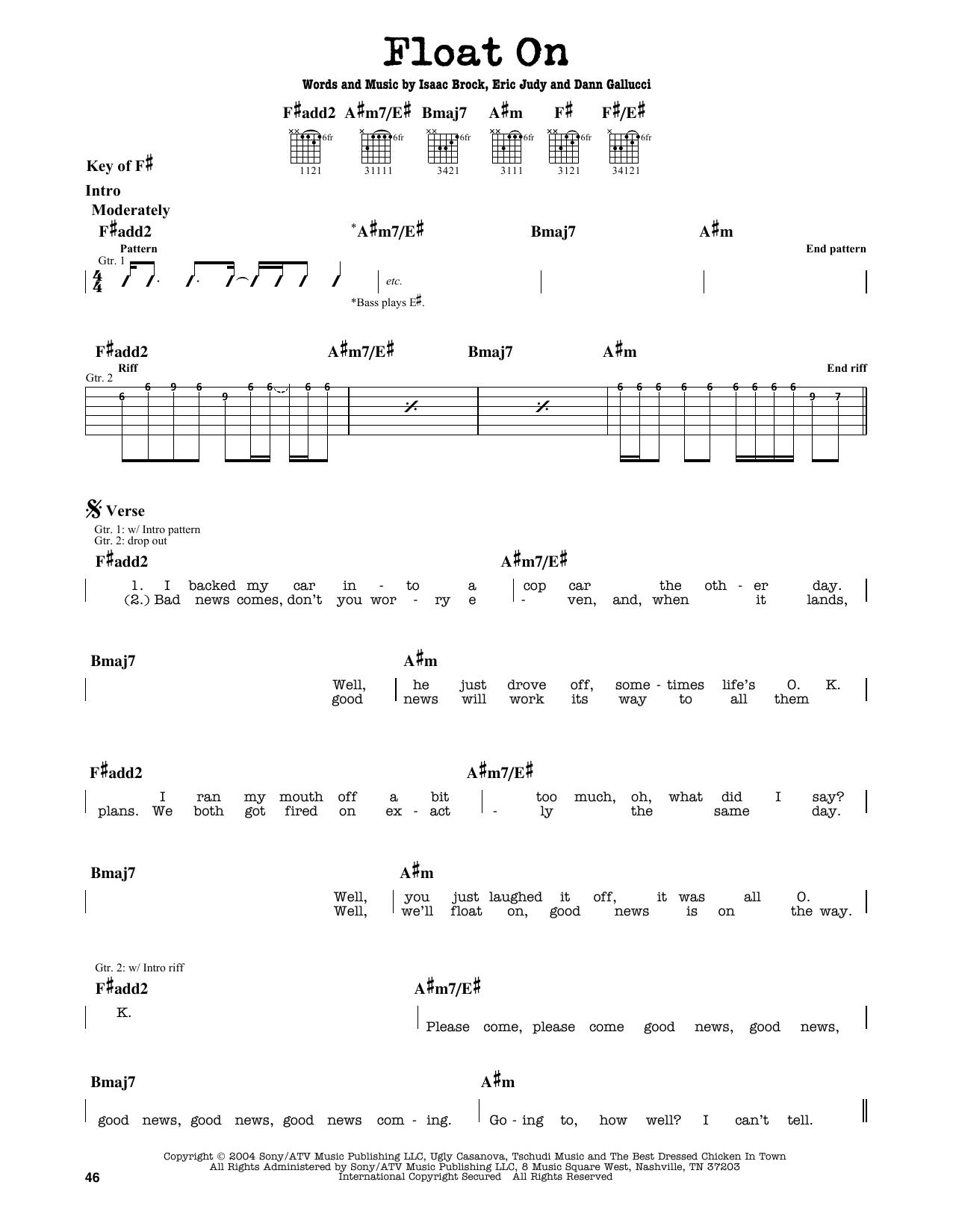 Partition autre Float On de Modest Mouse - Tablature Guitare Lead