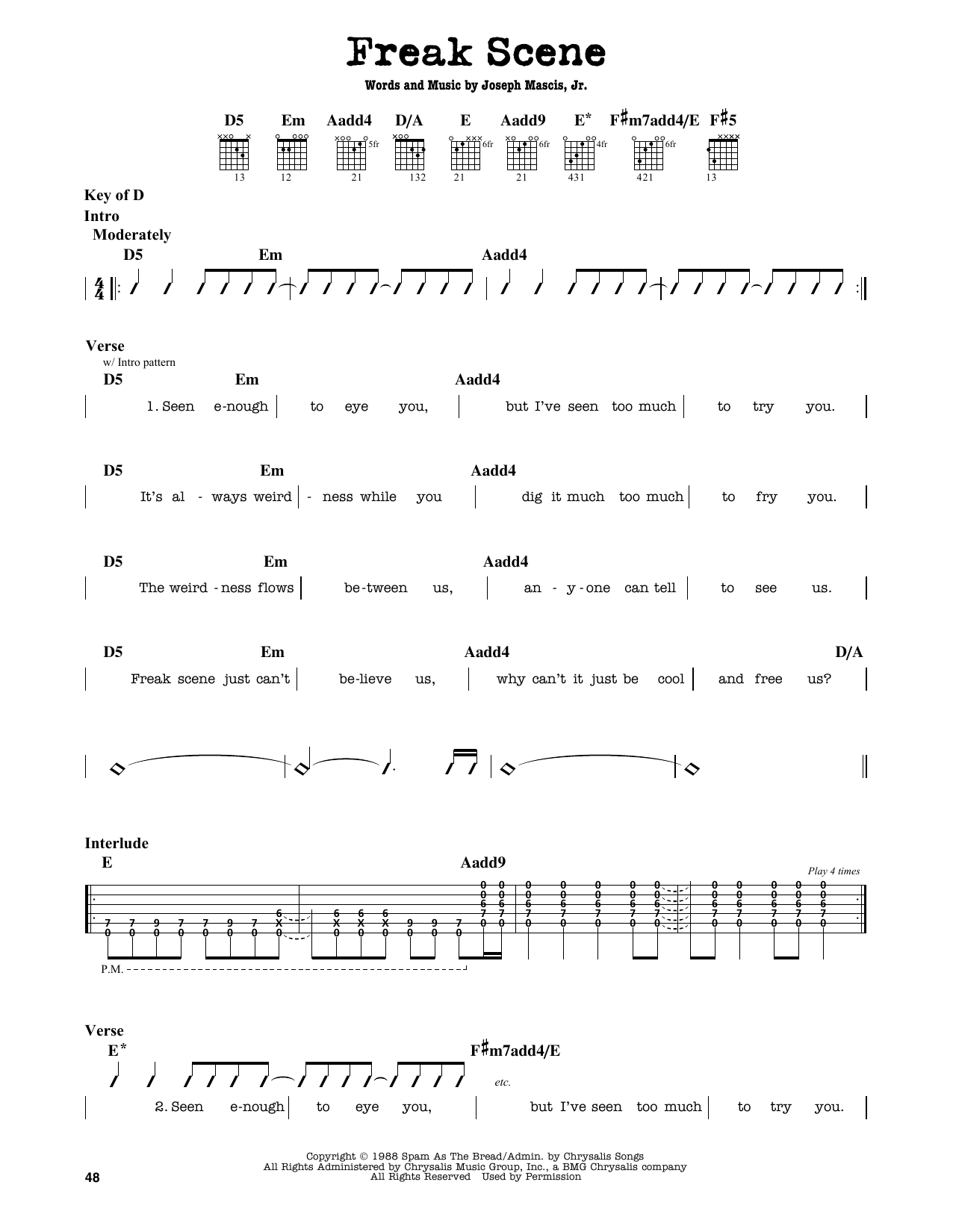 Partition autre Freak Scene de Dinosaur Jr. - Tablature Guitare Lead