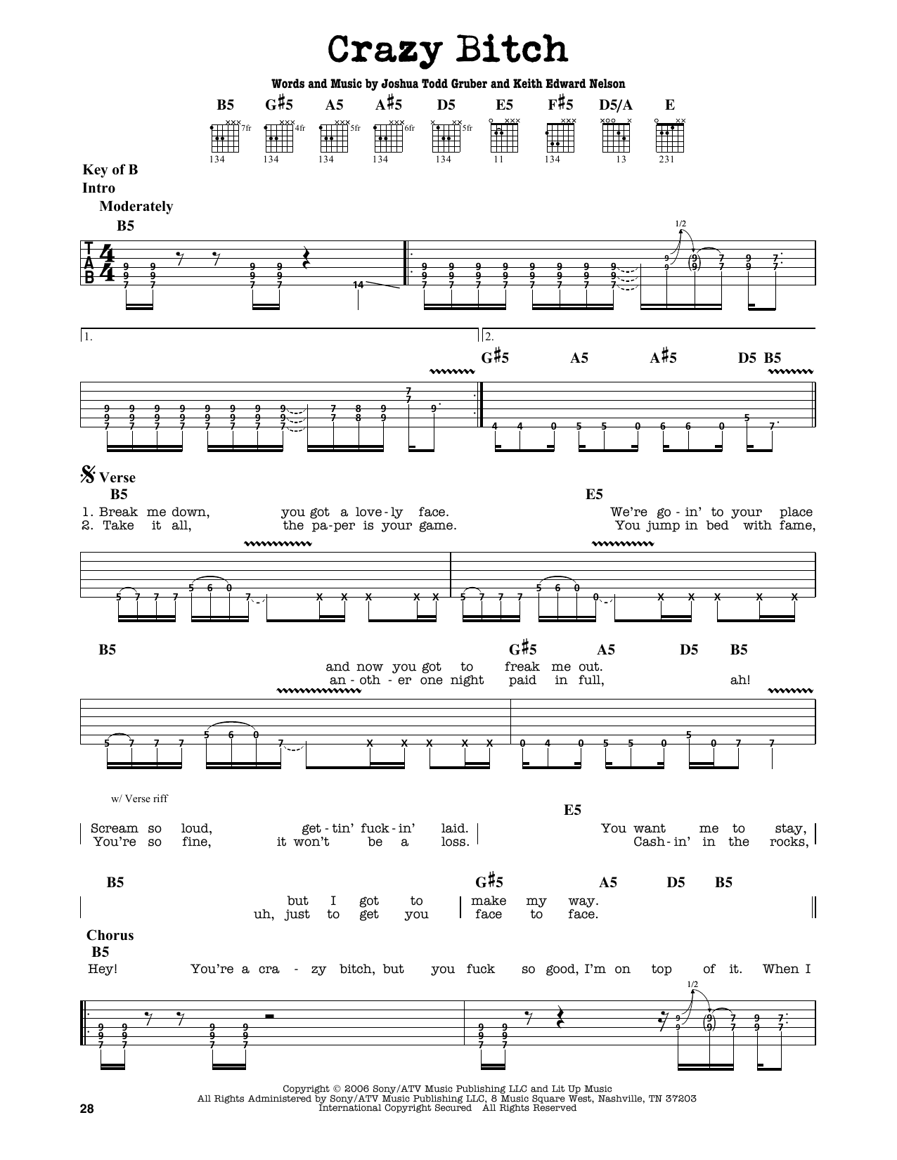 Partition autre Crazy Bitch de Buckcherry - Tablature Guitare Lead