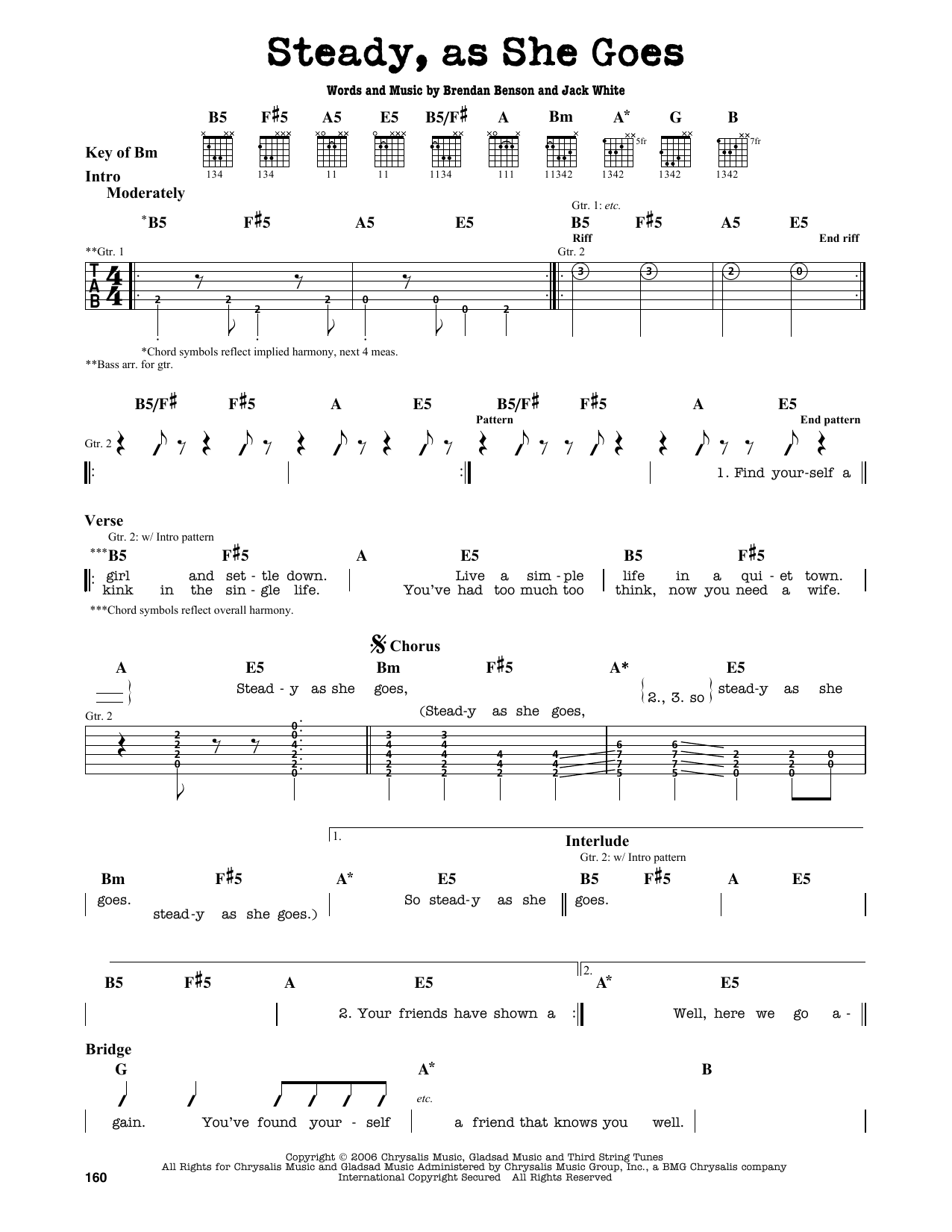 Partition autre Steady, As She Goes de The Raconteurs - Tablature Guitare Lead