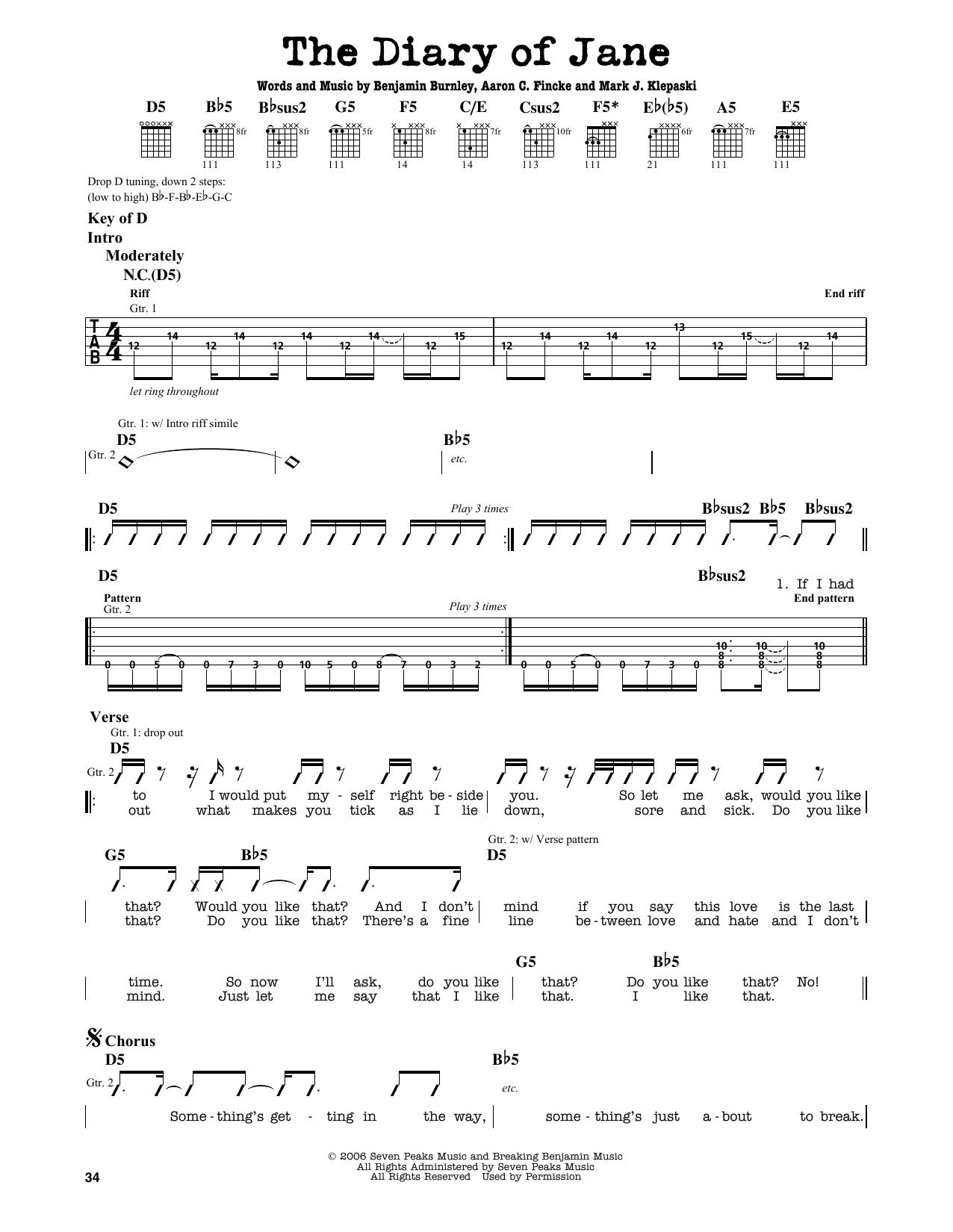 Partition autre The Diary Of Jane de Breaking Benjamin - Tablature Guitare Lead