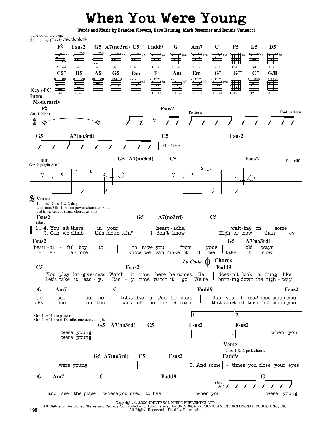 Partition autre When You Were Young de The Killers - Tablature Guitare Lead
