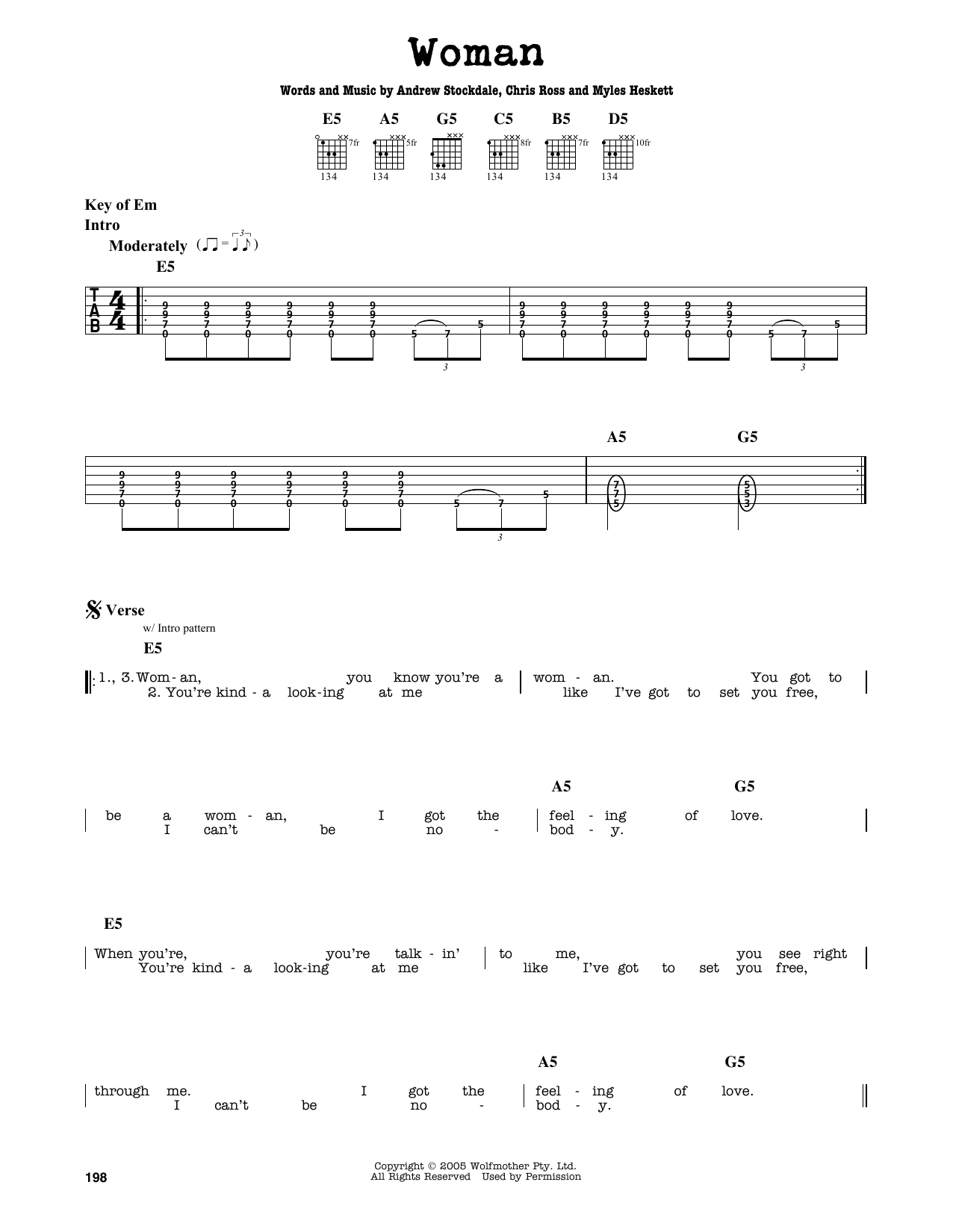 Partition autre Woman de Wolfmother - Tablature Guitare Lead