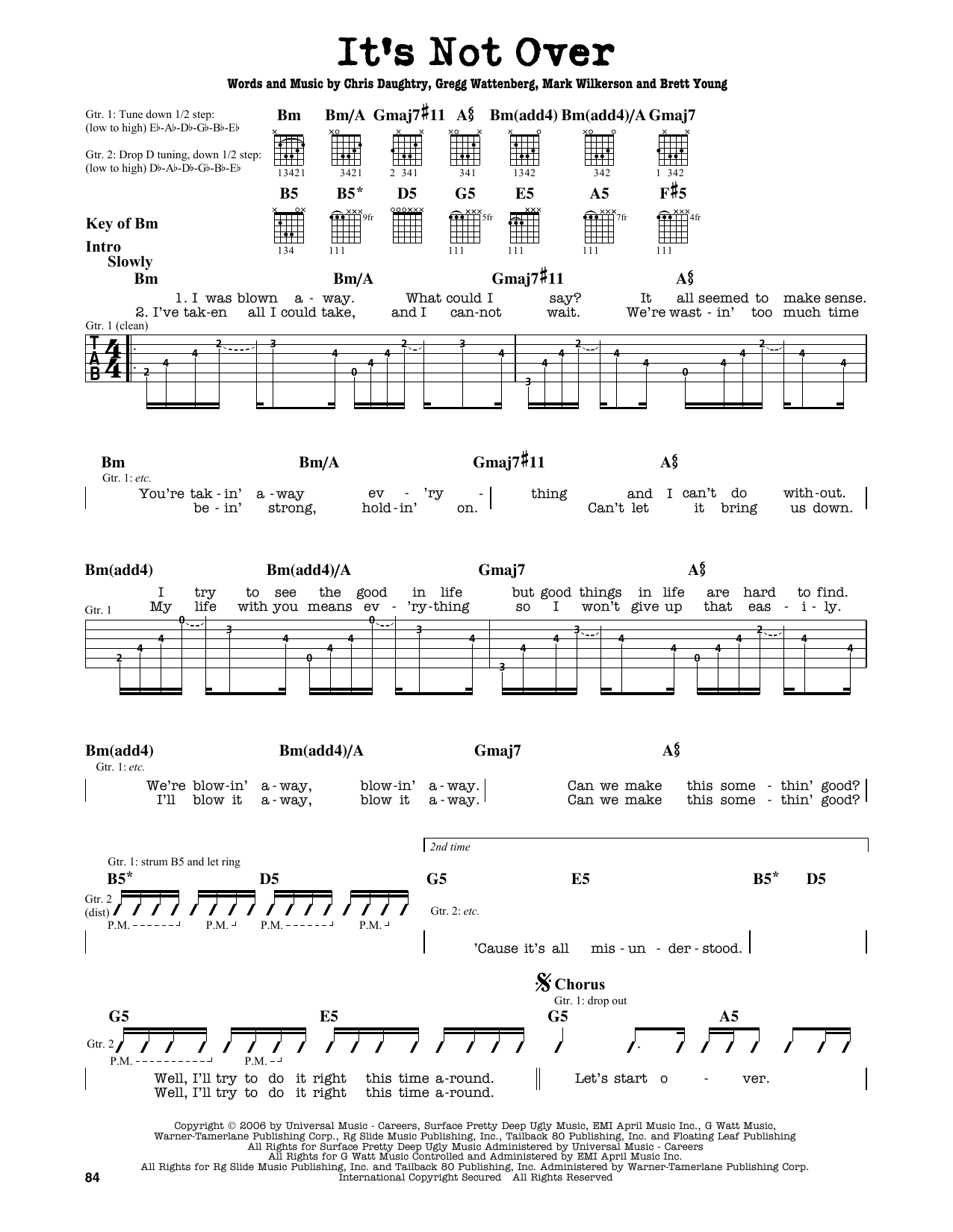 Partition autre It's Not Over de Daughtry - Tablature Guitare Lead