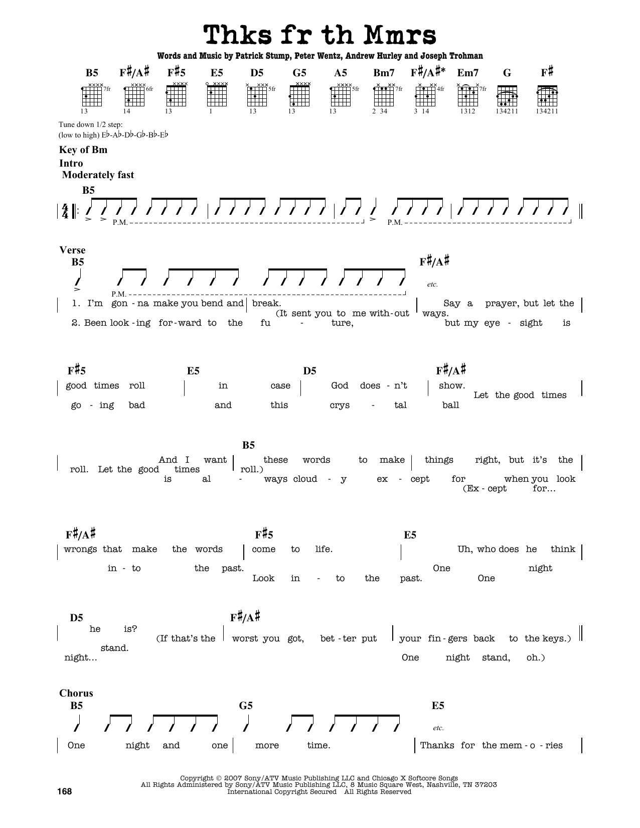 Partition autre Thnks Fr Th Mmrs de Fall Out Boy - Tablature Guitare Lead