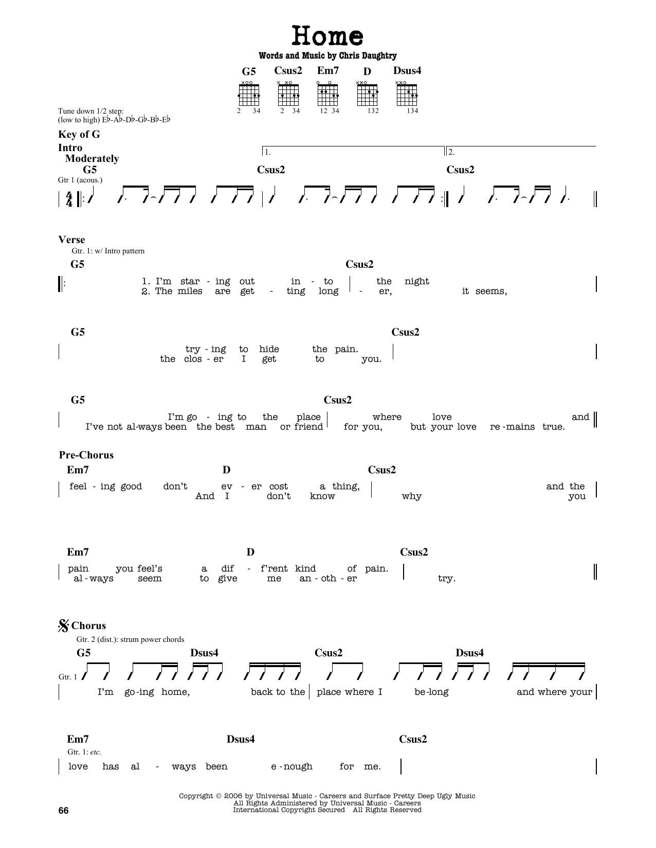 Partition autre Home de Daughtry - Tablature Guitare Lead