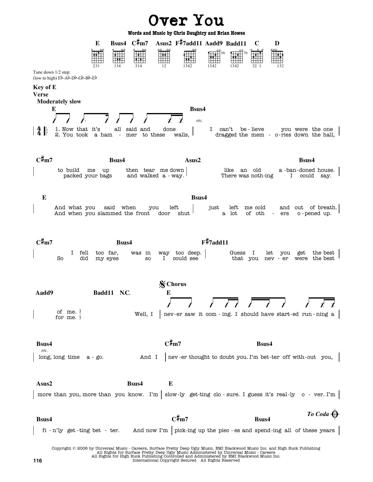 Partition autre Over You de Daughtry - Tablature Guitare Lead