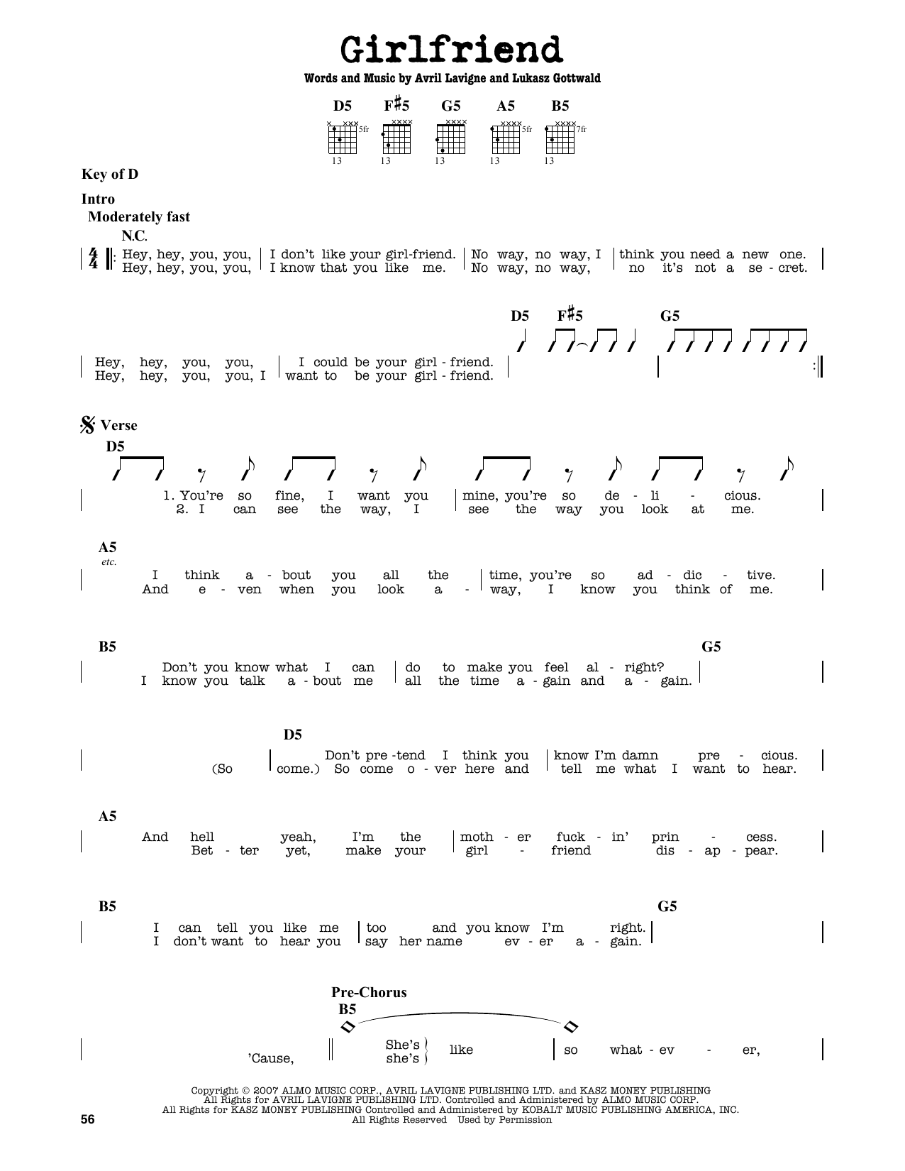 Partition autre Girlfriend de Avril Lavigne - Tablature Guitare Lead