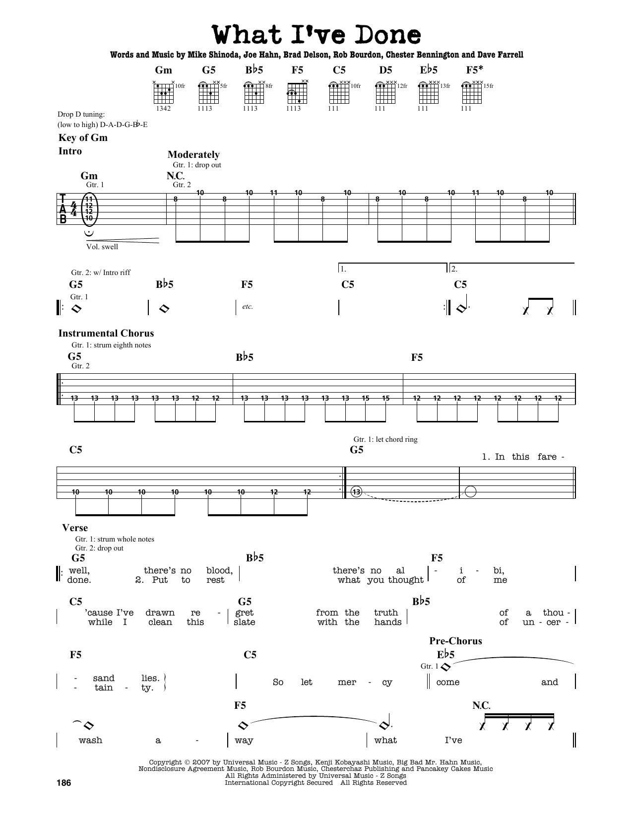 Partition autre What I've Done de Linkin Park - Tablature Guitare Lead