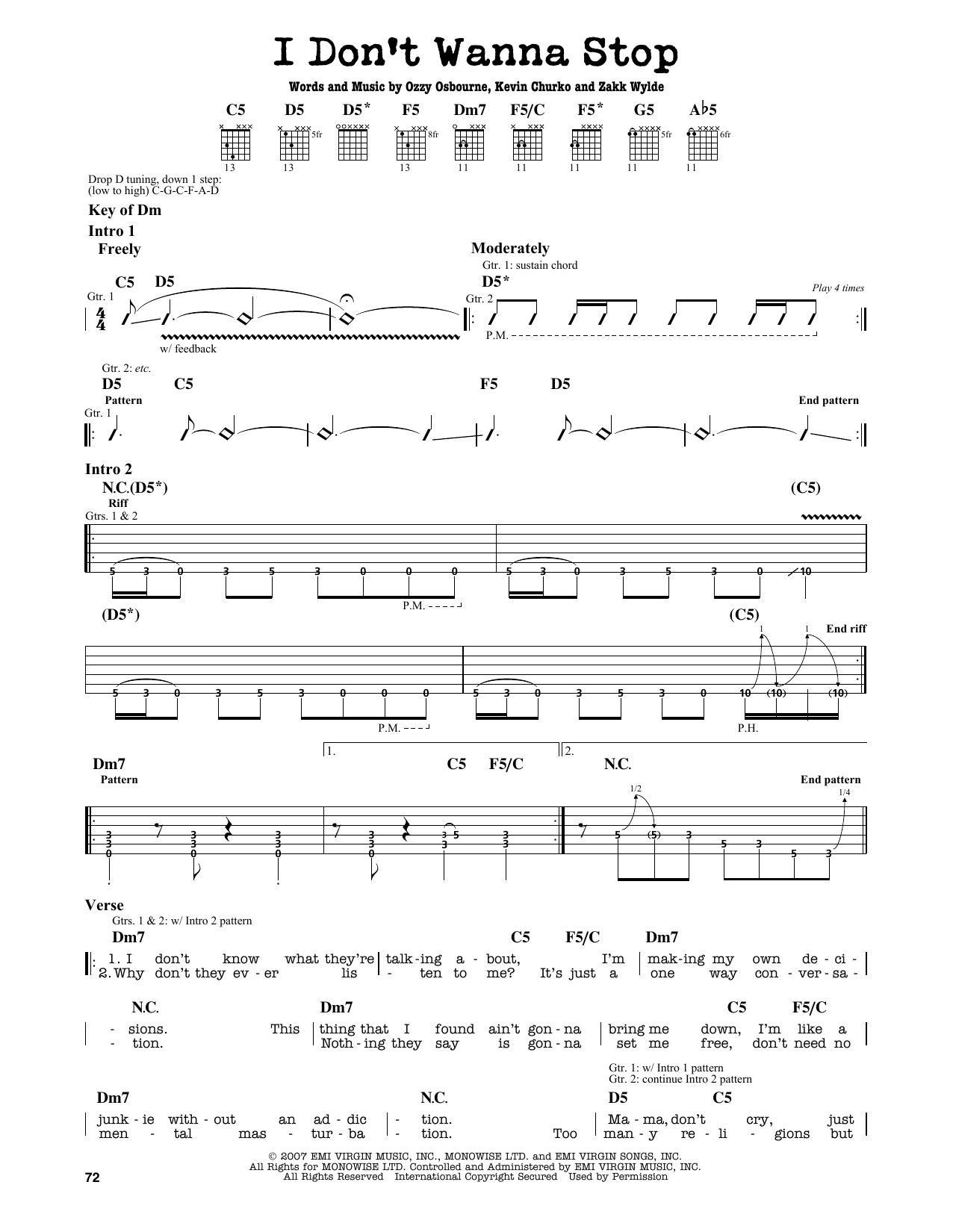 Partition autre I Don't Wanna Stop de Ozzy Osbourne - Tablature Guitare Lead