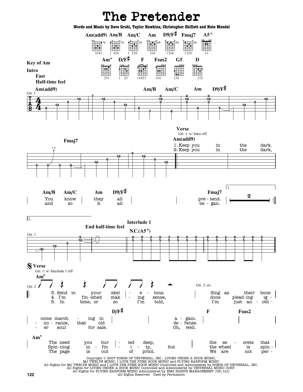 Partition autre The Pretender de Foo Fighters - Tablature Guitare Lead
