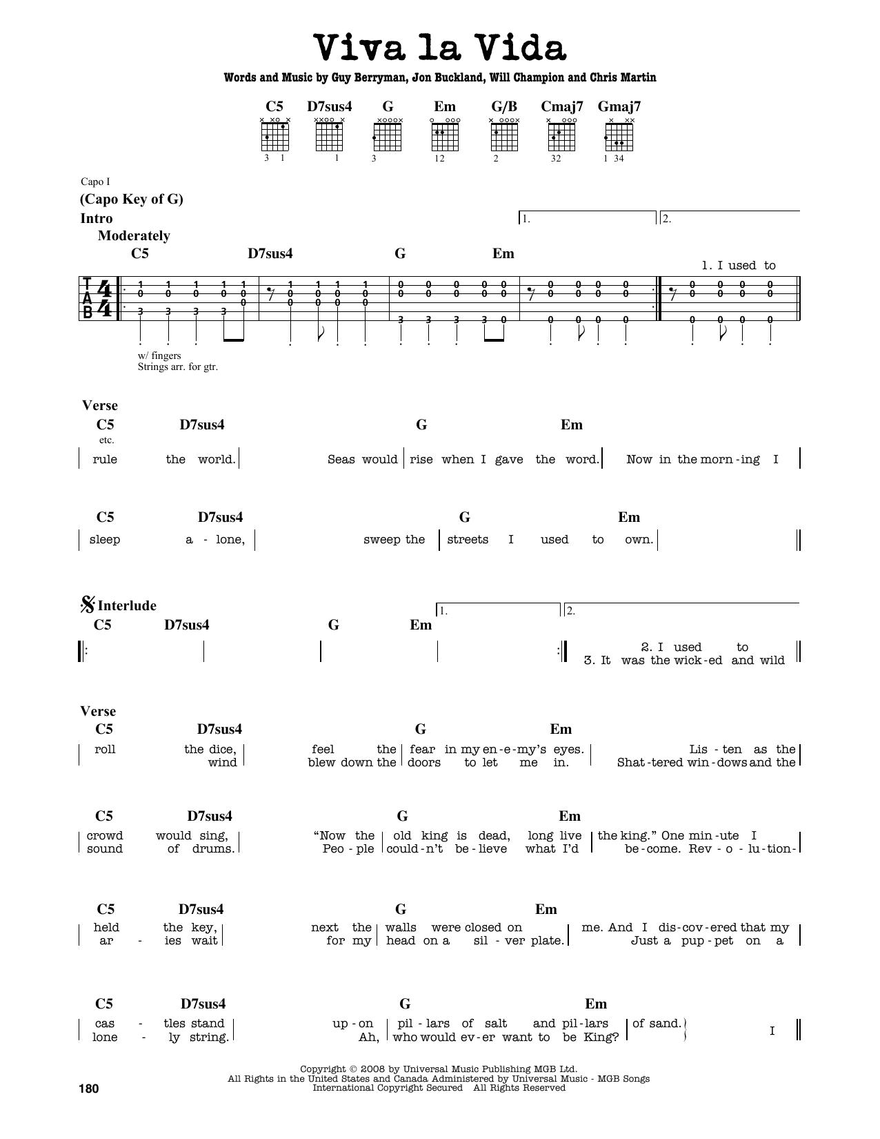 Partition autre Viva La Vida de Coldplay - Tablature Guitare Lead