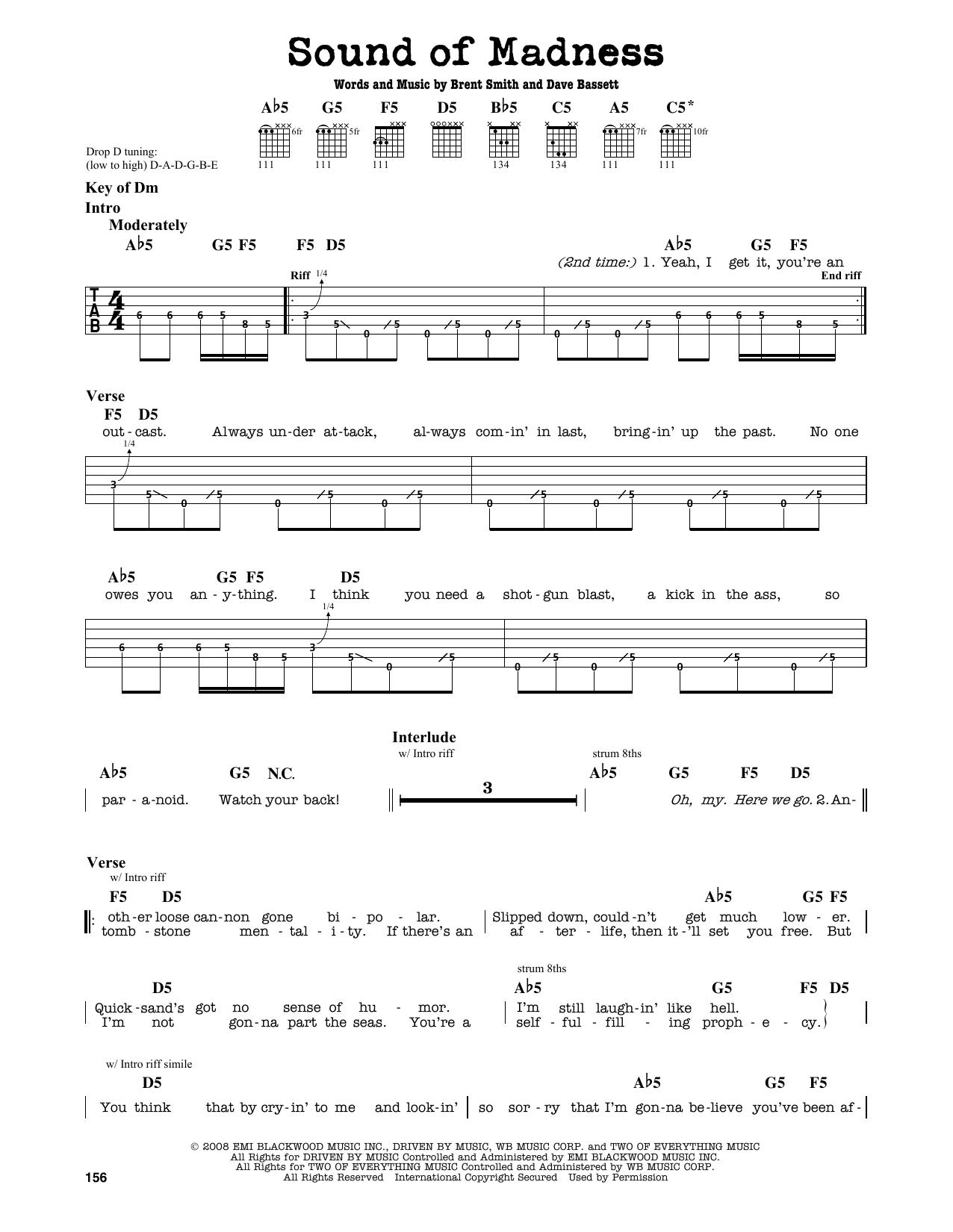 Partition autre Sound Of Madness de Shinedown - Tablature Guitare Lead