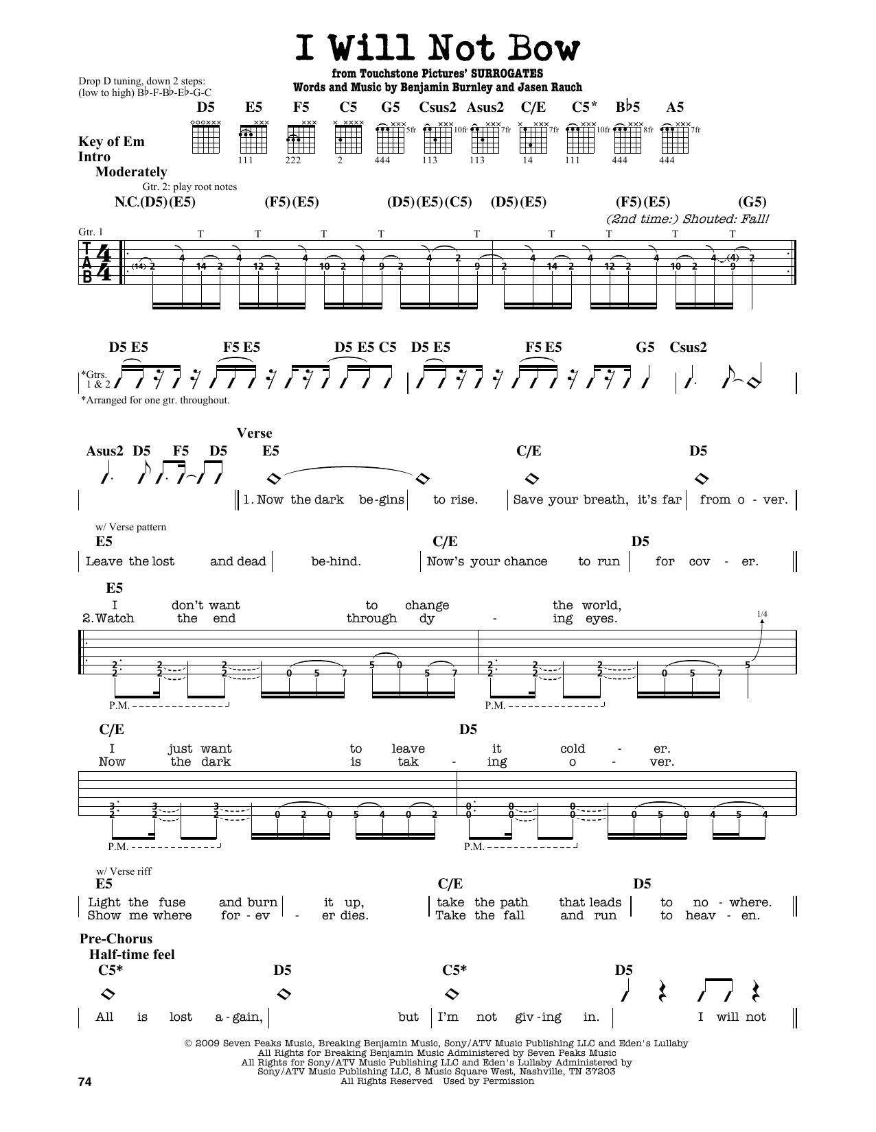 Partition autre I Will Not Bow de Breaking Benjamin - Tablature Guitare Lead