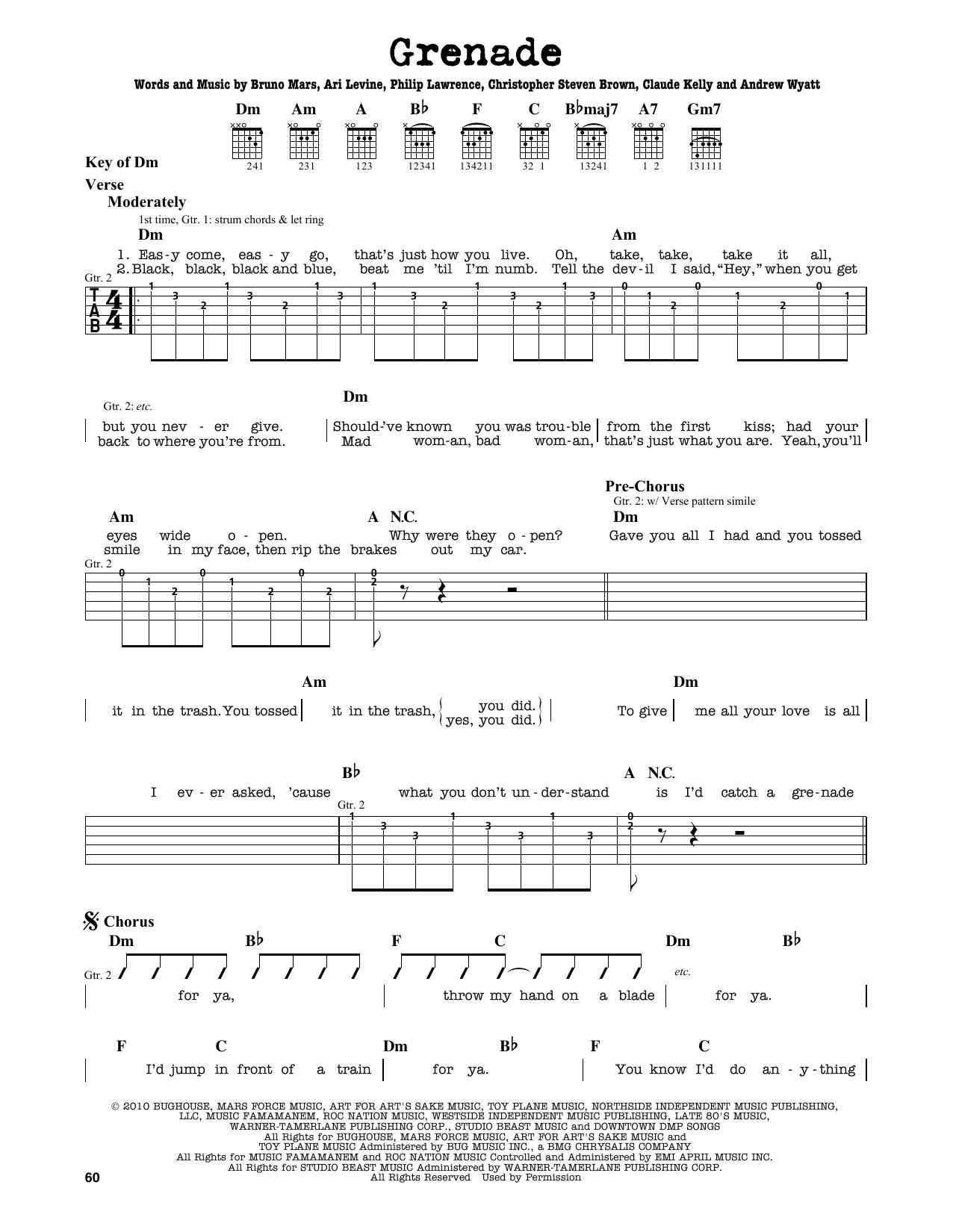 Partition autre Grenade de Bruno Mars - Tablature Guitare Lead