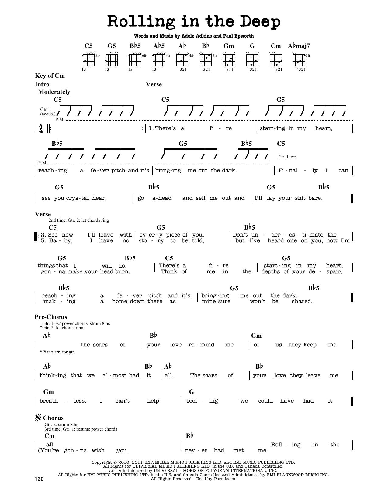 Partition autre Rolling In The Deep de Adele - Tablature Guitare Lead