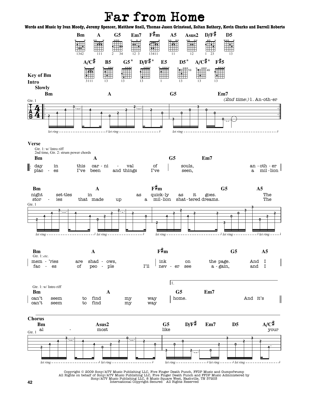 Partition autre Far From Home de Five Finger Death Punch - Tablature Guitare Lead