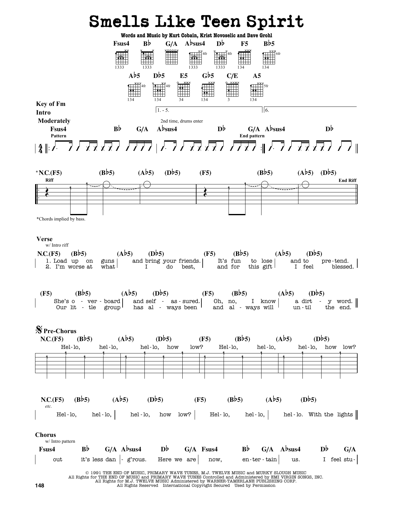 Partition autre Smells Like Teen Spirit de Nirvana - Tablature Guitare Lead