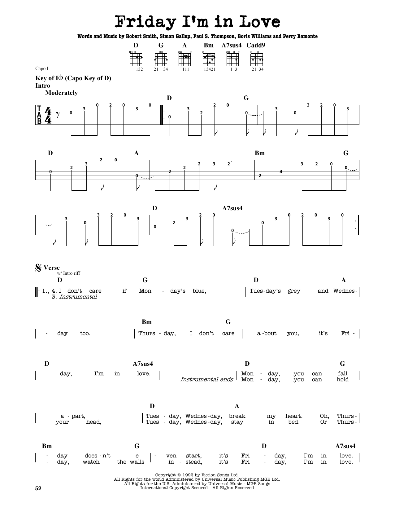 Partition autre Friday I'm In Love de The Cure - Tablature Guitare Lead