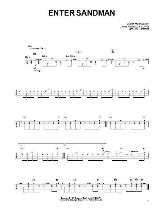 Tablature guitare Enter Sandman de Metallica - Ukulele