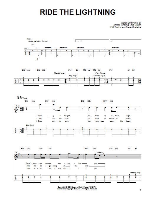 Tablature guitare Ride The Lightning de Metallica - Ukulele