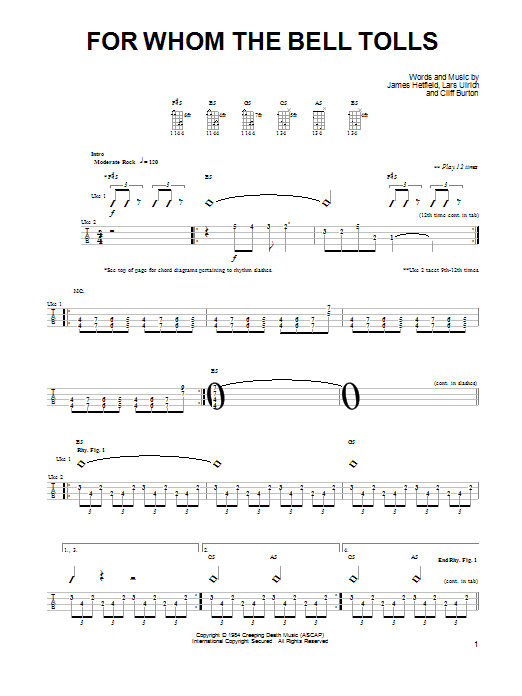 Sheet Music Digital Files To Print - Licensed Metallica Digital ...