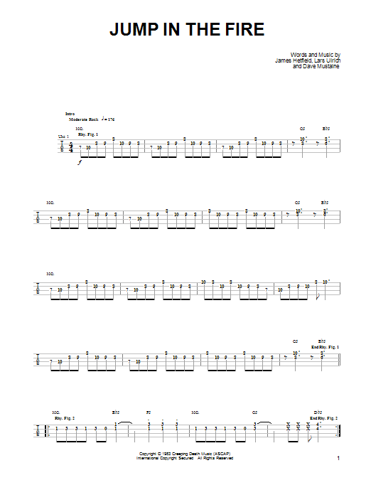 Tablature guitare Jump In The Fire de Metallica - Ukulele
