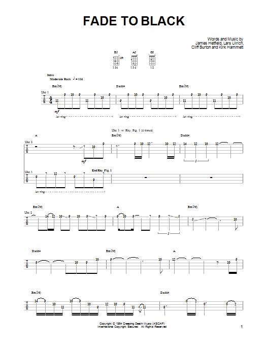 Tablature guitare Fade To Black de Metallica - Ukulele