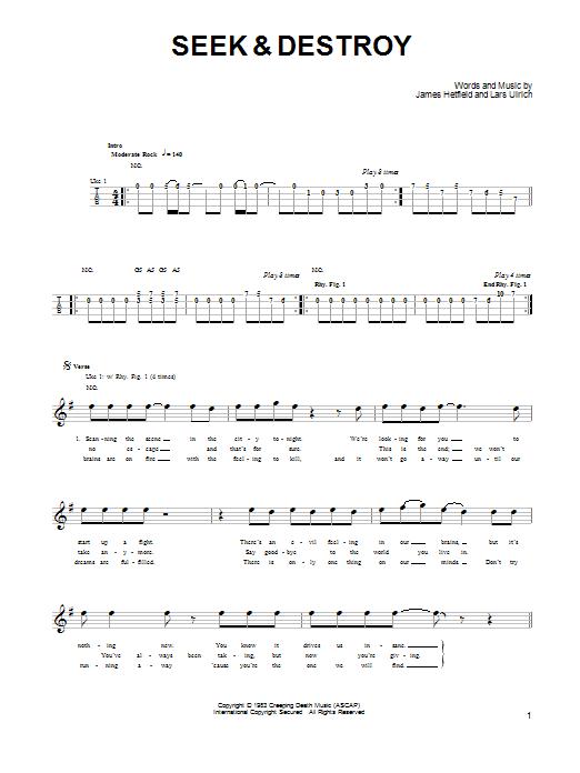 Tablature guitare Seek & Destroy de Metallica - Ukulele