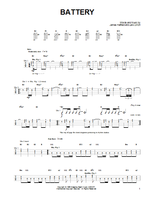 Tablature guitare Battery de Metallica - Ukulele