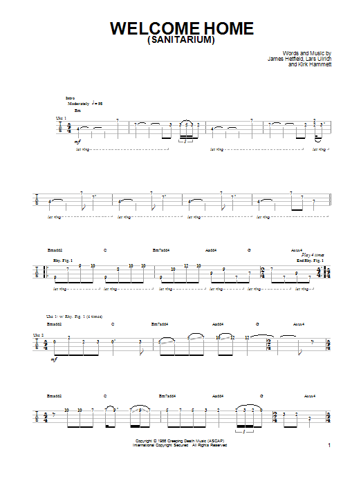 Tablature guitare Welcome Home (Sanitarium) de Metallica - Ukulele
