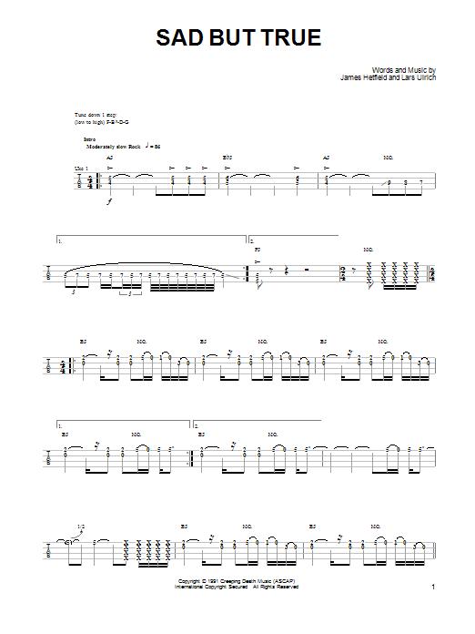 Tablature guitare Sad But True de Metallica - Ukulele