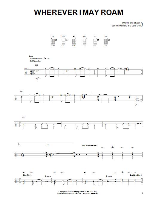 Tablature guitare Wherever I May Roam de Metallica - Ukulele