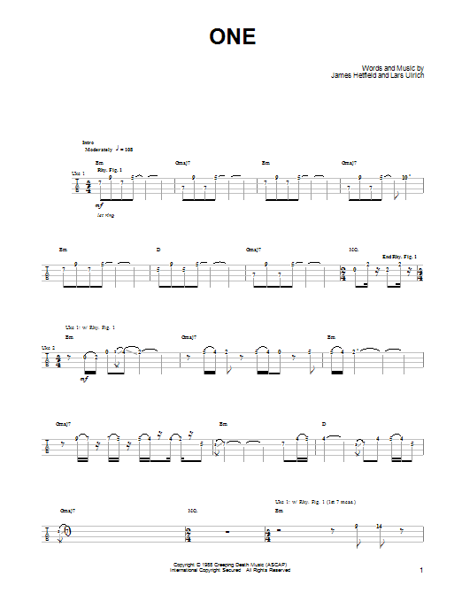 Tablature guitare One de Metallica - Ukulele