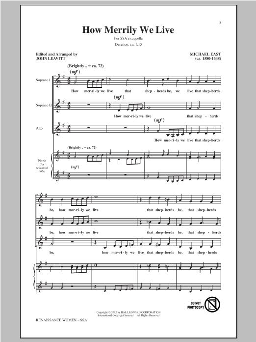 Partition chorale How Merrily We Live de Michael East - SSA