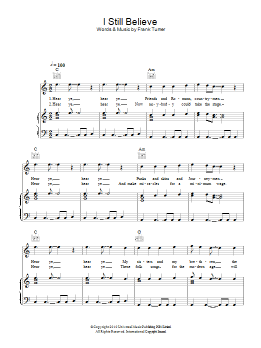I Still Believe sheet music for voice, piano or guitar by Frank Turner