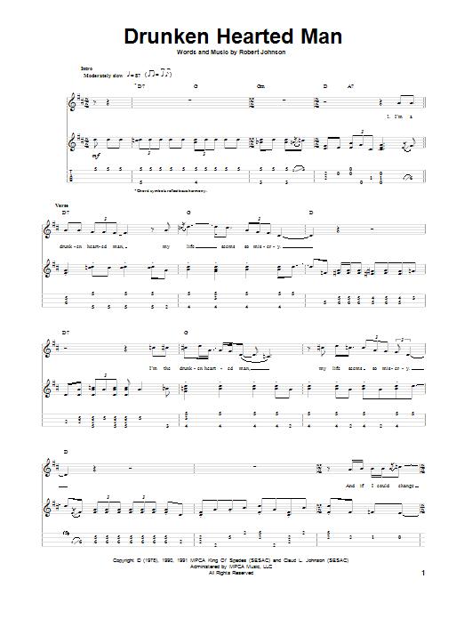 Tablature guitare Drunken Hearted Man de Robert Johnson - Ukulele