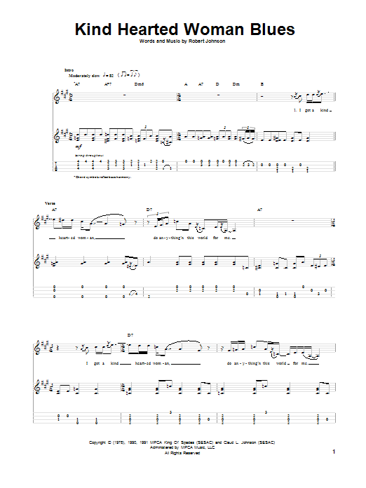 Tablature guitare Kind Hearted Woman Blues de Robert Johnson - Ukulele