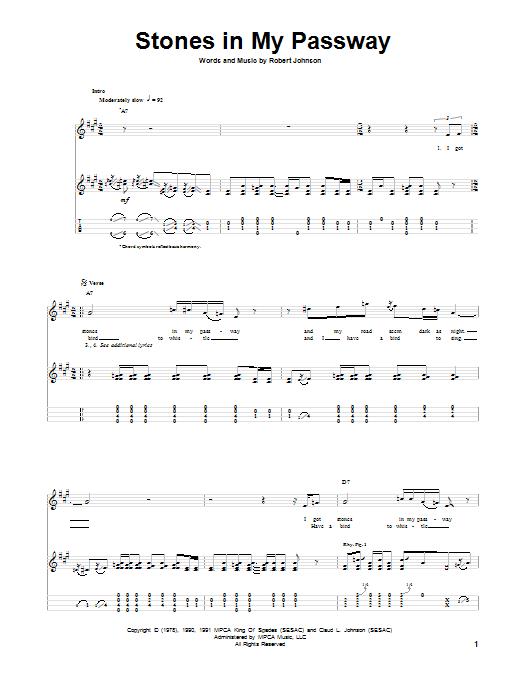 Tablature guitare Stones In My Passway de Robert Johnson - Ukulele