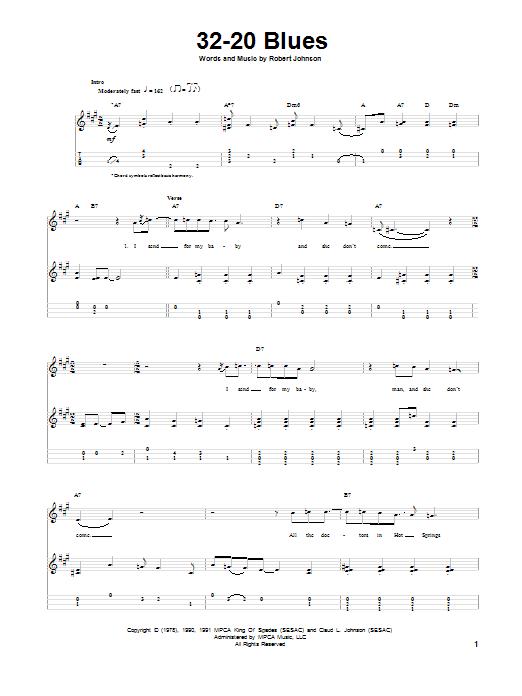 Tablature guitare 32-20 Blues de Robert Johnson - Ukulele