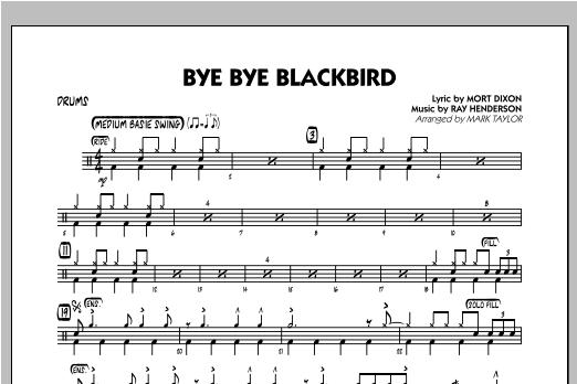 Bye Bye Blackbird Drums At Stantons Sheet Music