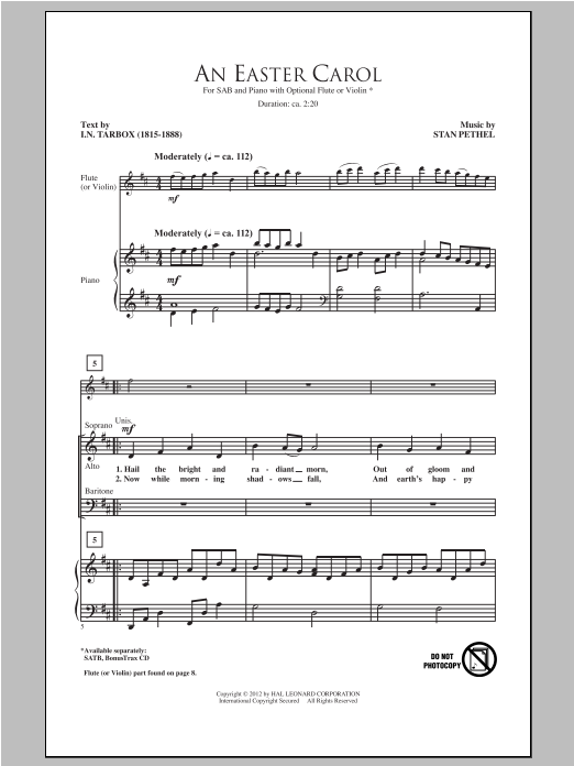 An Easter Carol sheet music for choir and piano (SAB) by Stan Pethel