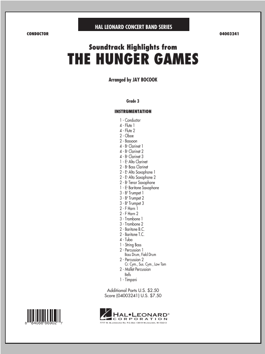 The Hunger Games (Soundtrack Highlights) sheet music for concert band (full score) by James Newton Howard