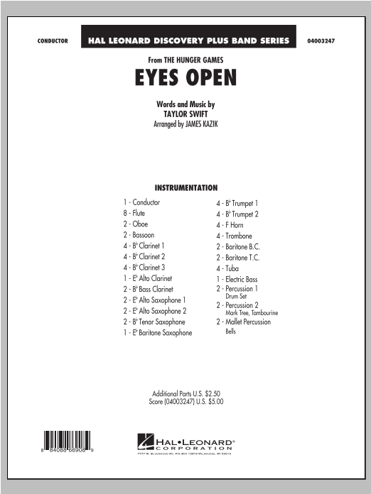 Eyes Open (from The Hunger Games) (COMPLETE) sheet music for concert band by James Kazik