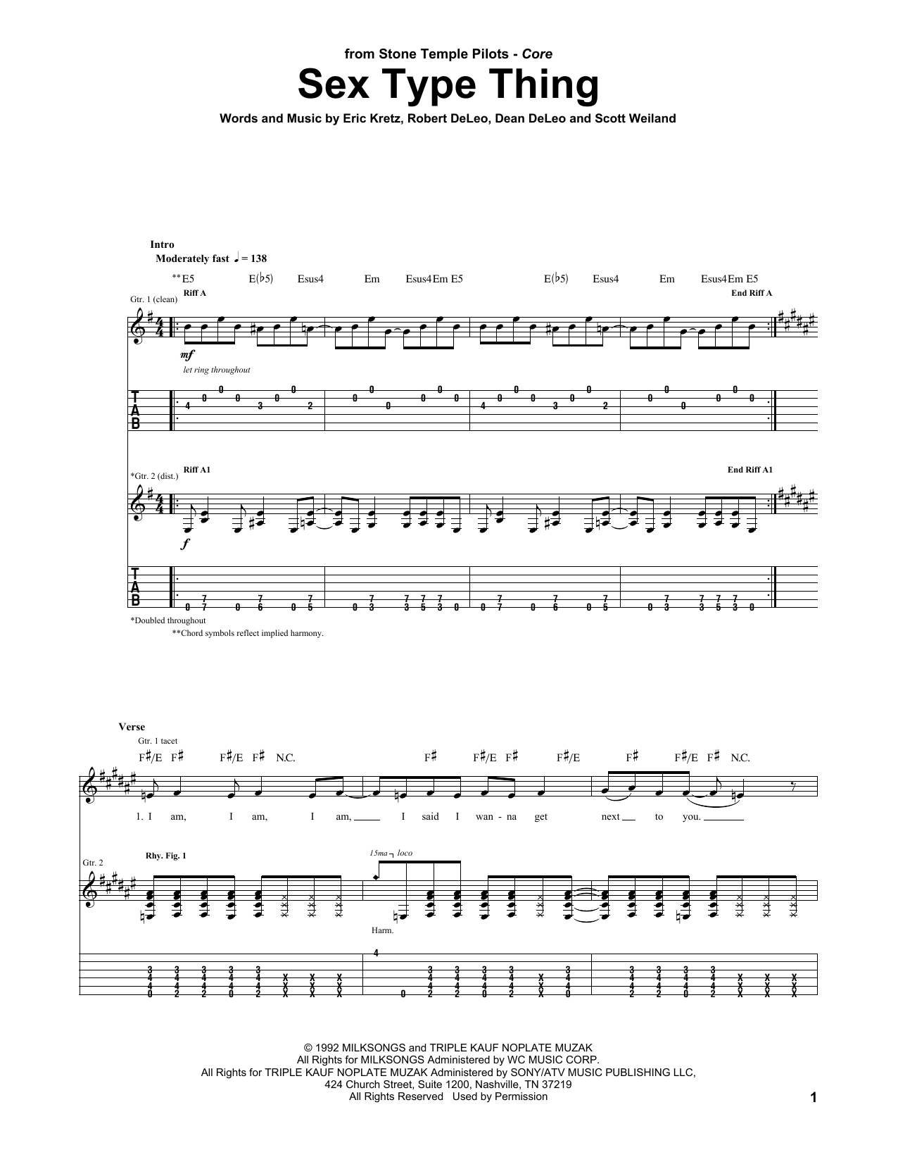Tablature guitare Sex Type Thing de Stone Temple Pilots - Tablature Guitare