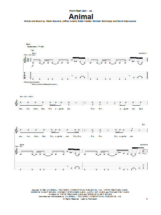 Tablature guitare Animal de Pearl Jam - Tablature Guitare