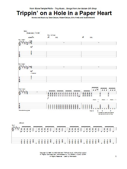 Tablature guitare Trippin' On A Hole In A Paper Heart de Stone Temple Pilots - Tablature Guitare